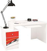 Компьютерный стол ABC-King La-Man левый с тумбой / ABC-129-Y1 (красный) -