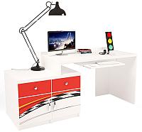 Компьютерный стол ABC-King La-Man левый с 2 тумбами / ABC-129-Y2 (красный) -