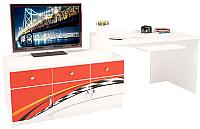 Компьютерный стол ABC-King La-Man левый с 3 тумбами / ABC-129-Y3 (красный) -