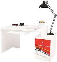 Компьютерный стол ABC-King La-Man правый с тумбой / ABC-129-P1 (красный) -