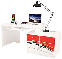 Компьютерный стол ABC-King La-Man правый с 2 тумбами / ABC-129-P2 (красный) -