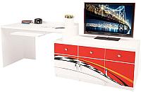 Компьютерный стол ABC-King La-Man правый с 3 тумбами / ABC-129-P3 (красный) -