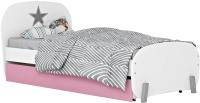 Односпальная кровать Polini Kids Mirum 1915 c ящиком (белый/розовый) -