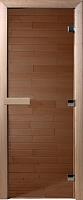 Стеклянная дверь для бани/сауны Doorwood Теплый день 190x80 (бронза, коробка осина) -