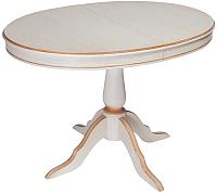 Обеденный стол ТехКомПро Эдельвейс М/Б 735x1050-1345x750 (дуб/слоновая кость/патина шампань) -