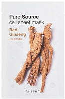 Маска для лица тканевая Missha Pure Source Red Ginseng (21г) -