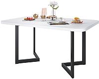 Обеденный стол Domus Симпл-6 / 14-101-106-02 (белый/черный) -