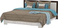 Двуспальная кровать Мебель-КМК 1600 Эстель 0738.1 (шимо светлый/мокка глянец) -