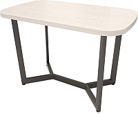 Обеденный стол Millwood Лофт М Лайт 160x80x75 (дуб белый Craft/металл черный) -