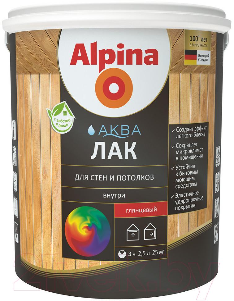 Купить Лак Alpina, Аква для стен и потолков (900мл, шелковисто-матовый), Германия, бесцветный