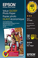 Фотобумага Epson Value Glossy Photo Paper 10х15 20лx2 (C13S400044) -