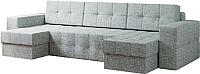 Диван П-образный Настоящая мебель Гесен НПБ рогожка (серый) -
