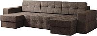 Диван П-образный Настоящая мебель Гесен НПБ рогожка (коричневый) -