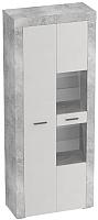 Шкаф с витриной Мебельград Осло 2-х дверный 80x35x200 (бетон/кашемир) -