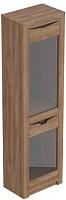 Шкаф-пенал с витриной Мебельград Соренто (дуб стирлинг/кофе структурный матовый) -