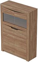 Шкаф с витриной Мебельград Соренто 2-х дверный 107x38.5x150 (дуб стирлинг/кофе структурный матовый) -