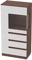 Шкаф с витриной Мебельград Виго L1400 (венге/белый дым) -