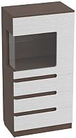 Шкаф с витриной Мебельград Виго R1400 (венге/белый дым) -