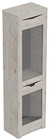 Шкаф-пенал с витриной Мебельград Соренто (дуб бонифаций/кофе структурный матовый) -