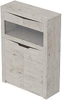 Шкаф с витриной Мебельград Соренто 2-х дверный 107x38.5x150 (дуб бонифаций/кофе структурный матовый) -