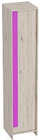 Шкаф-пенал Мебельград Скаут 42x42x199 (дуб бонифаций/софт тач фуксия) -