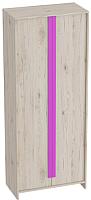 Шкаф Мебельград Скаут 2-х дверный 80x42x199 (дуб бонифаций/софт тач фуксия) -