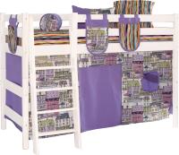 Шторки для кровати-чердака Мебельград Соня (191x100 + 81x100, кэнэлс сиреневый/панама песко сиреневый) -