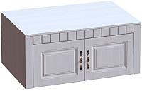 Антресоль Мебельград Прованс 2-х дверный (бодега белая/платина премиум) -