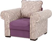 Кресло мягкое Мебельград Цезарь (роял бежево-лиловый/мора фиолетовый) -