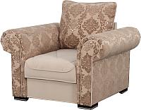 Кресло мягкое Мебельград Цезарь (домаск миндаль/мора бежевый) -