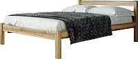 Двуспальная кровать Мебельград Рино 160x200 с опорными брусками (массив сосны орех светлый) -