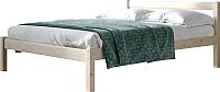 Односпальная кровать Мебельград Рино 90x200 с опорными брусками (массив сосны ясень жемчужный) -