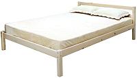 Двуспальная кровать Мебельград Рино 160x200 с опорными брусками (массив сосны без покрытия) -
