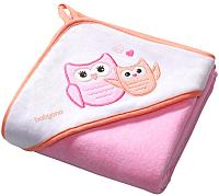 Полотенце с капюшоном BabyOno Велюр 137/01 (76x76, розовый) -