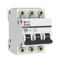 Выключатель автоматический EKF ВА 47-29 3P 63А (С) 4.5кА / mcb4729-3-63C -
