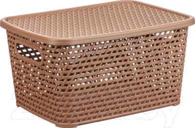Ящик для хранения Idea Ротанг / М2375 (бежевый, с крышкой)