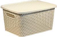 Ящик для хранения Idea Ротанг / М2375 (белый, с крышкой) -