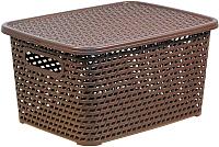 Ящик для хранения Idea Ротанг / М2375 (коричневый, с крышкой) -