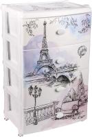 Комод пластиковый Альтернатива Весна в Париже / М2266 (белый) -
