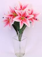 Искусственный букет Orlix Букет лилий / 06-141-B/2 (розовый) -