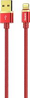 Кабель Olmio Deluxe USB 2.0 - lightning 2.1A / 038850 (1м, красный) -