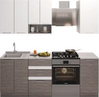 Готовая кухня Иволанд Трейд 150-220-60 (белый снег/темное дерево) -