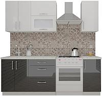 Готовая кухня ВерсоМебель ВерсоЛайн 4-1.6 (белый 001/черный 020) -