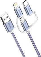 Кабель Olmio USB 2.0 - microUSB/Lightning/TypeC 2.1A / 038896 (1.2м) -