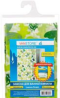 Шторка-занавеска для ванны VanStore Leaves Green Peva 61003 -