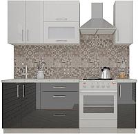 Готовая кухня ВерсоМебель ВерсоЛайн 4-1.5 (белый/черный графит) -