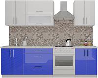 Готовая кухня ВерсоМебель ВерсоЛайн 4-2.0 (белый 001/глубокий синий 601) -