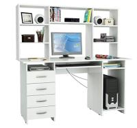 Компьютерный стол MFMaster Милан-6П / М-6ПН-БТ (белый) -