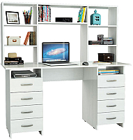 Компьютерный стол MFMaster Милан-10 / М-10Н-БТ (белый) -