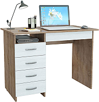 Письменный стол MFMaster Милан-1 (0120) / МСТ-СДМ-01-СБ-03 (дуб сонома/белый) -